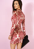 Aliyah Cream & Maroon Velour Flock Print Bodycon Dress