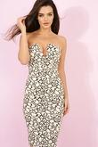 Hanna Black & Cream Bandeau Midi Bodycon Dress