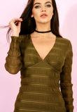Textured Bodycon Dress Khaki