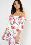 Tori White Floral Bardot Midi Dress