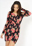 Black Long Sleeve Pleated Floral Wrap Dress