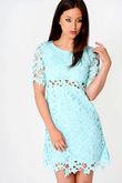 Nasey Floral Net Shift Mini Dress Green