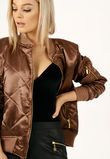 Quilted Satin Bomber Jacket Bronze