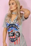 Rock n Roll Choker Tee Grey
