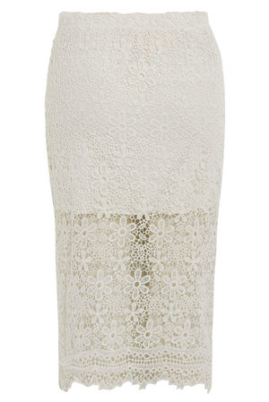 Sam Lace Bodycon Midi Skirt White