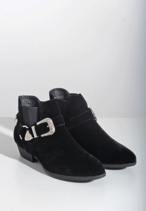 Silvi Black Faux Suede Buckle Detail Ankle Boots