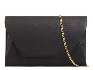 Black Mock Croc Clutch Bag