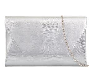 Silver Mock Croc Clutch Bag