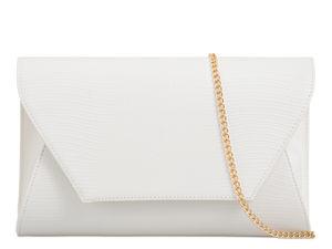 White Mock Croc Clutch Bag