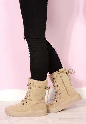 Carli Crepe Suede Boots Cream