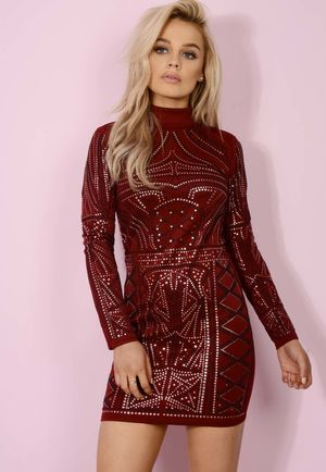 Wine Embellished High-neck Bodycon Dress