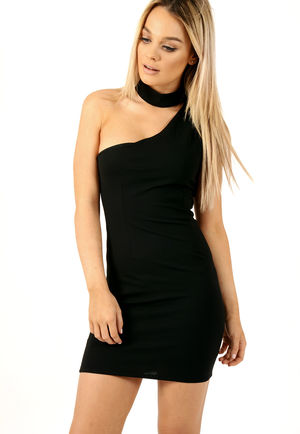 Off The Shoulder Choker Neck Dress Black