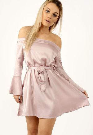 Satin Tie Waist Bardot Dress Rose