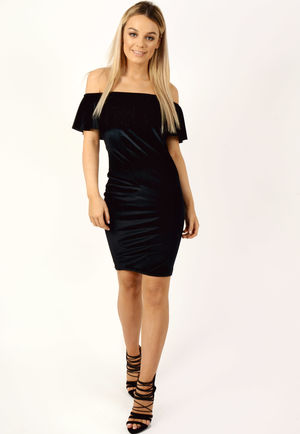 Velvet Frill Ribbed Glitter Bardot Dress Black