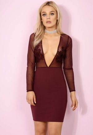 Sheer Tilly Deep V Bodycon Wine