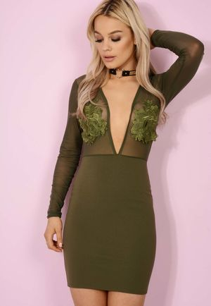 Sheer Tilly Deep V Bodycon Khaki