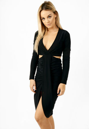 Cut Out Slinky Dress Black
