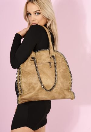 Bella Chain Trim Handbag Camel