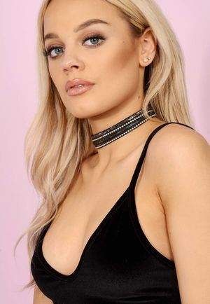 Black Layerd Silver & Grey Diamante Embelished Choker