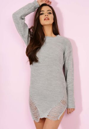 Knitted Distressed Jumper Grey