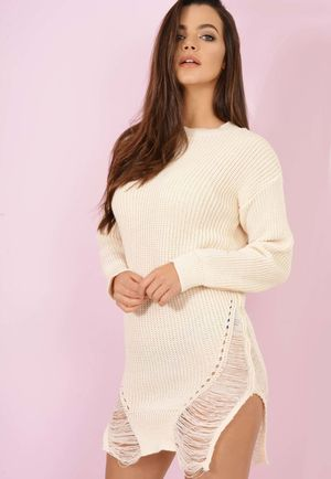 Knitted Distressed Jumper Cream