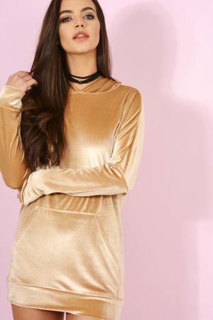 Velvet Hoody Top Gold