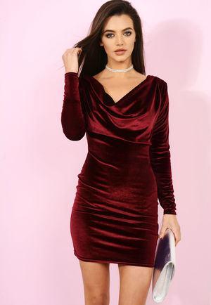 Cowl Neck Wine Velvet Dress