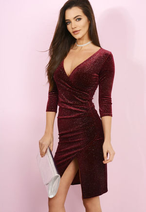 Wine Sparkle Wrap Dress
