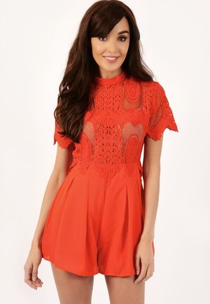 Andrea Red Lace Detail Playsuit
