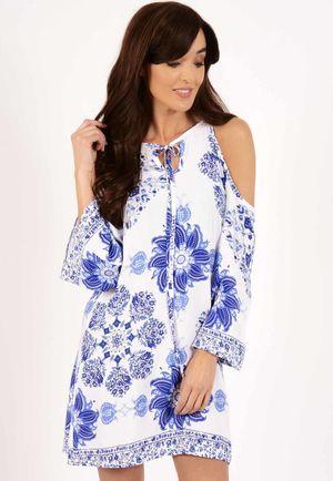 Alesha Blue & White Cold Shoulder Swing Dress