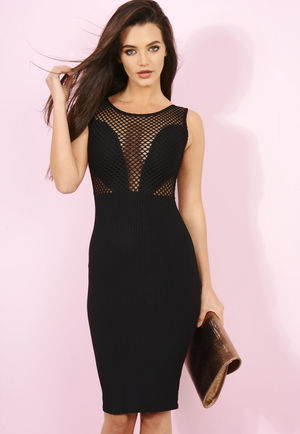 Angela Black Ribbed Mesh Bodycon Midi Dress