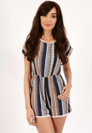 Kay Multi Border Print Playsuit