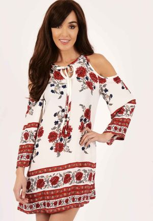Alesha Red & White Cold Shoulder Swing Dress