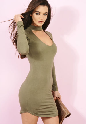 Choker Detail Dress Khaki