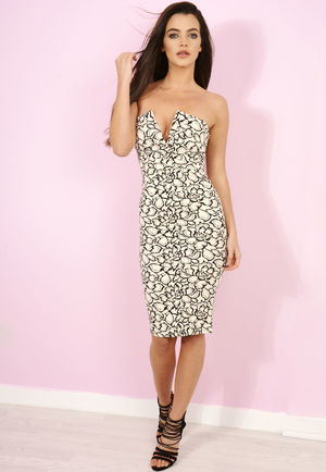 Hanna Black & Cream Bandeau Midi Bodycon Dress