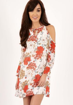 Alesha Floral Print Cold Shoulder Swing Dress