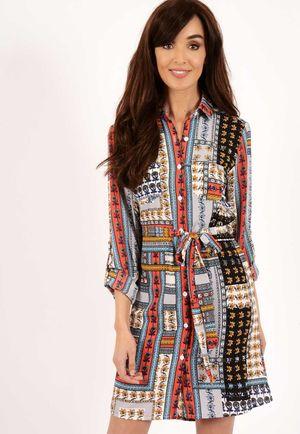 Molly Paisley Multi Border Print Shirt Dress