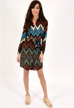 Ruby Blue Aztec Belted Shirt Dress
