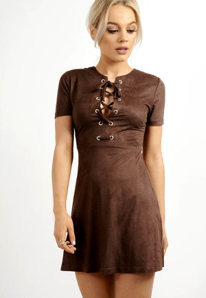 Lace Up Front Skater Suede Dress Brown
