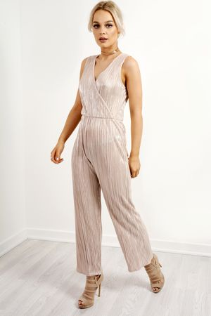 Wrap Front Pleated Sleeveless Jumpsuit Nude