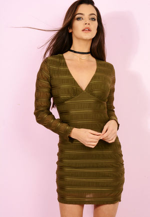 Textured Bodycon Dress Khaki