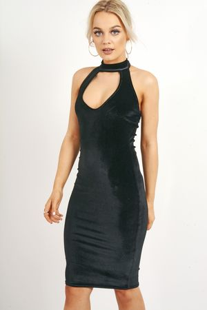 Sleeveless Choker Neck Velvet Bodycon Dress Black