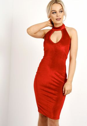 Sleeveless Choker Neck Velvet Bodycon Dress Red