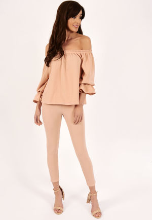 Meg Grey Frill Off The Shoulder Set