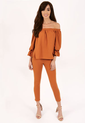 Meg Rust Frill Off The Shoulder Set