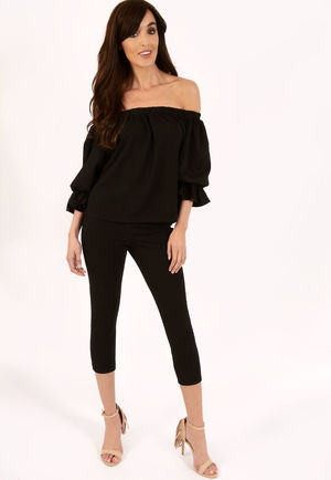Meg Black Frill Off The Shoulder Set