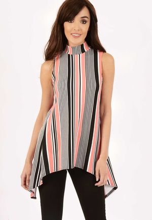 Jen Stripe Dip Hem Slit Back Top