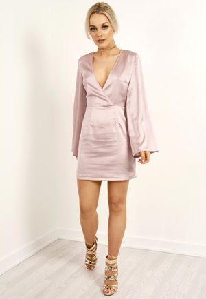 Silky Bell Sleeve Shift Dress Mauve