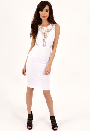 Angela White Ribbed Mesh Bodycon Midi Dress-Copy