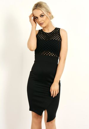 Laser Cut Out Bodycon Dress Black